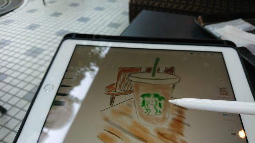 第六世代iPadにApple Pencilで絵を描いている様子