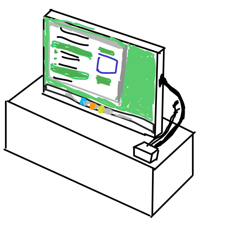 テレビの近くに置いてある小型PC